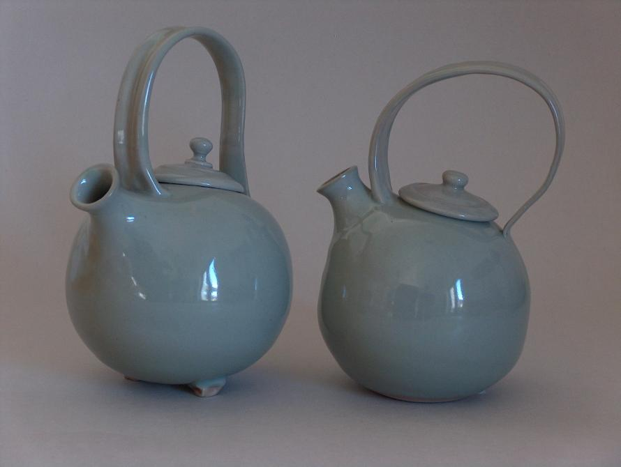 teapot, celadon, porcelain, hand thrown, parps island, greek island potters, ceramics,